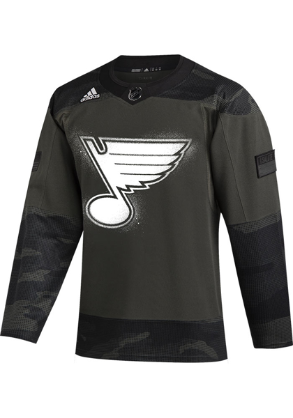 Adidas St Louis Blues Mens Green Military Appreciation Authentic Hockey Jersey