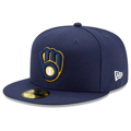 Men's Milwaukee Brewers New Era Navy Home 2020 Authentic Collection On-Field 59FIFTY Fitted Hat