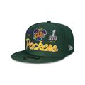 Men's Green Bay Packers New Era Green Super Bowl Retro Script 9FIFTY Snapback Hat
