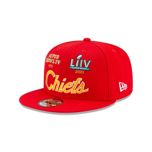 Men's Kansas City Chiefs New Era Red Super Bowl Retro Script 9FIFTY Snapback Hat