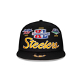 Men's Pittsburgh Steelers New Era Black Super Bowl Retro Script 9FIFTY Snapback Hat