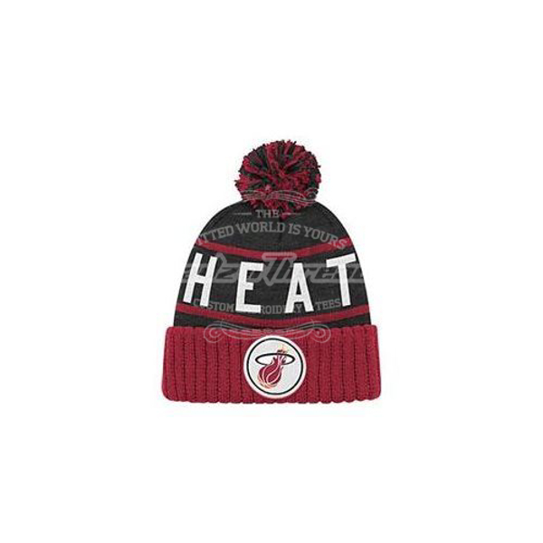 Picture of Miami Heat Mitchell and Ness NBA High 5 Cuffed Premium Pom Knit Hat