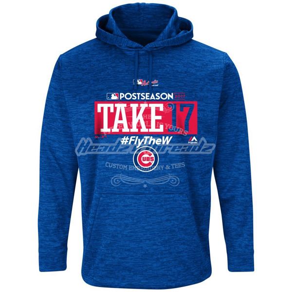 Picture of Men's Chicago Cubs Majestic Royal 2017 Postseason Participant Authentic Collection Ultra Streak Fleece Pullover Hoodie