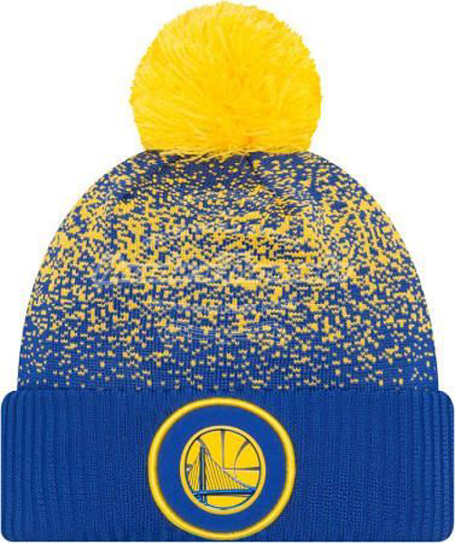 Picture of Golden State Warriors New Era 2017 Official On Court Collection Pom Knit - Royal/Gold