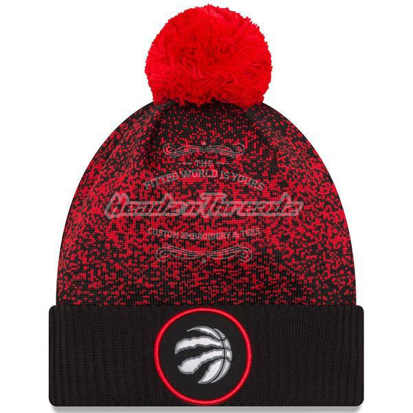 Picture of Men's Toronto Raptors New Era Black On-Court Cuffed Knit Hat with Pom