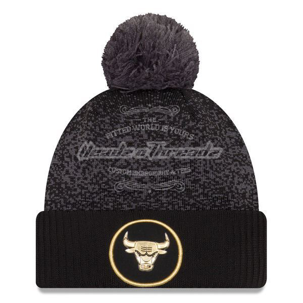 Picture of Men's Chicago Bulls New Era Black On-Court Gold Logo Cuffed Knit Hat with Pom
