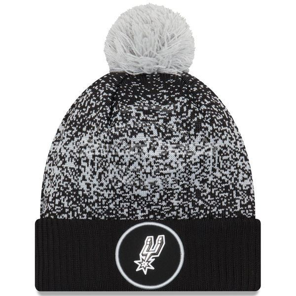 Picture of Men's San Antonio Spurs New Era Black On-Court Cuffed Knit Hat with Pom