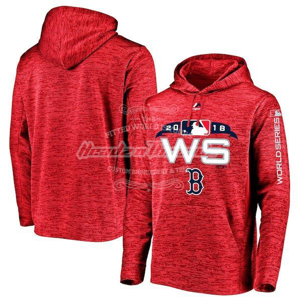 Picture of Men's Boston Red Sox Majestic Red 2018 World Series Bound Authentic Collection Streak Fleece Pullover Hoodie