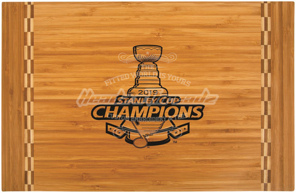 """Picture of St. Louis Blues Stanley Cup  18 1/4"""" x 12"""" Bamboo Cutting Board with Butcher Block Inlay"""