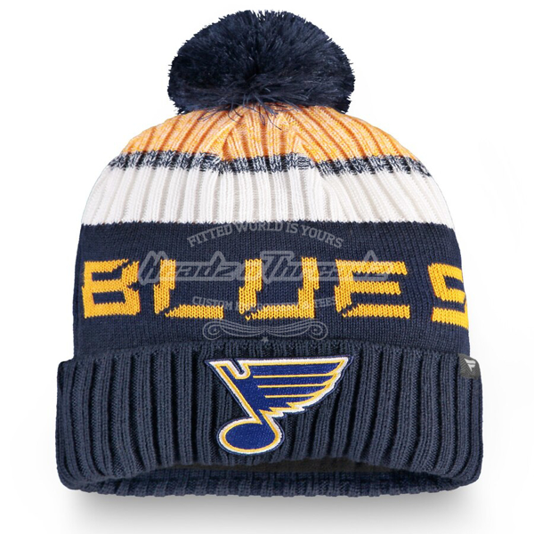 Picture of Fanatics Branded St. Louis Blues Navy/Gold Authentic Pro Rinkside Goalie Cuffed Knit Hat with Pom