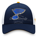 Picture of St. Louis Blues Fanatics Branded Authentic Pro Rinkside Adjustable Trucker Snapback Hat - Navy/White