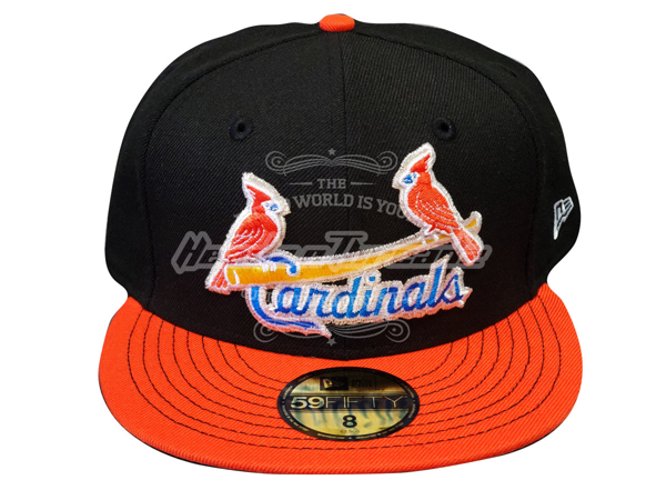St. Louis Cardinals Custom New Era Black Orange Birds on Bat 5950 Fitted Cap