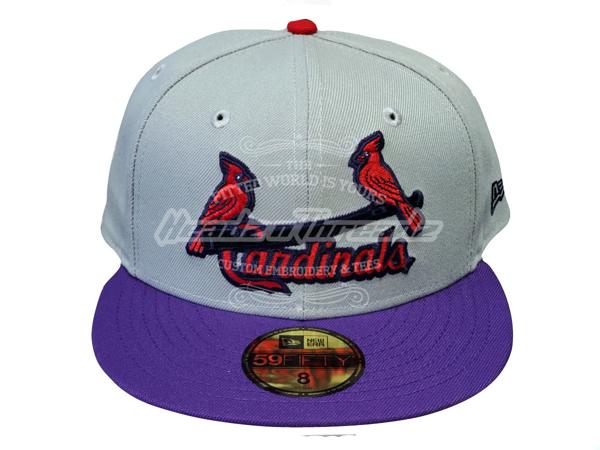 St. Louis Cardinals Custom New Era 5950 Fitted Gray Purple Scarlet Birds on Bat Cap
