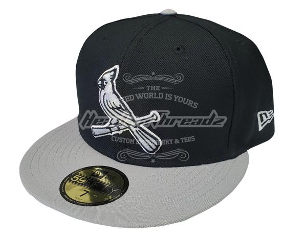 St. Louis Cardinals Custom Noir New Era 5950 Black/Grey Fitted Cap